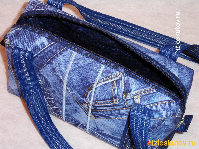 """Лоскутная сумка """"Синий джинс"""" № 1040"""