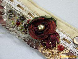 """Браслет """"Бордовый цветок"""" № 1063"""
