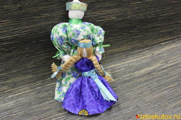"""Кукла """"Ведучка"""" (Ведущая по жизни) в зеленом и синем № 1506"""