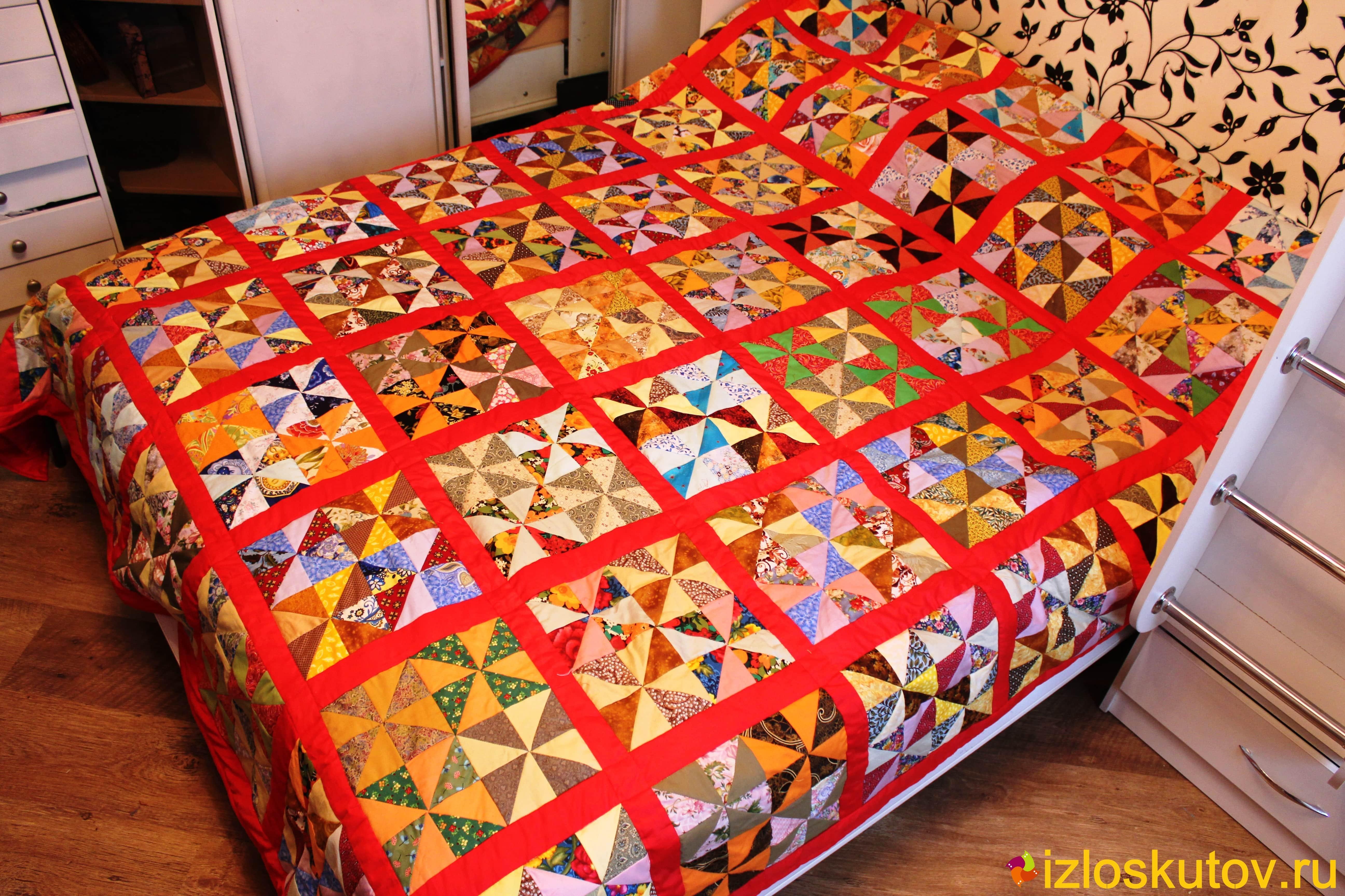 Одеяло из лоскутов в технике пэчворк