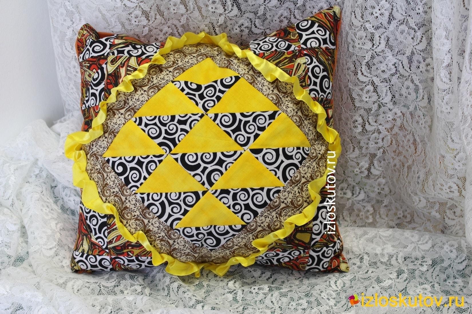 """Лоскутная подушка """"Желтая лента"""" № 1161"""