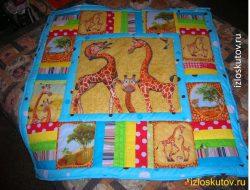 """Лоскутное одеяло """"Жирафчик"""" синее № 1256"""