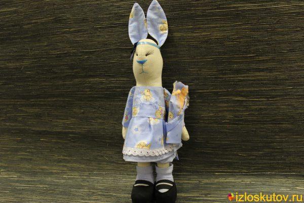 Заяц в стиле Тильда голубой с бантиком №1481