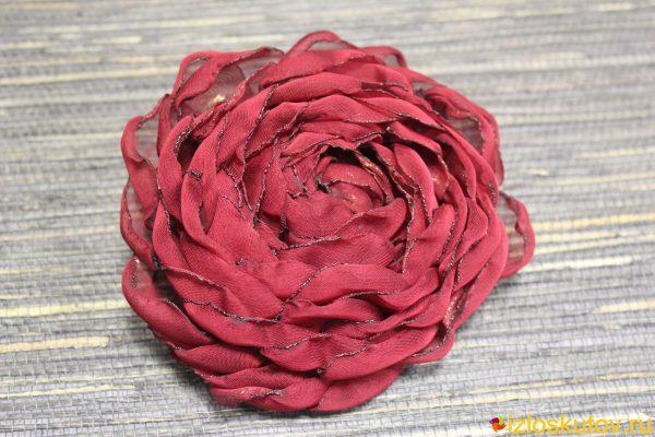 """Брошь """"Бордовый цветок"""" № 583"""